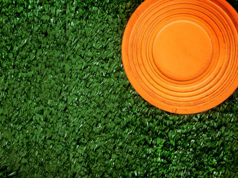 Flying target plate for shotgun sport is lying on the green grass. Copy space