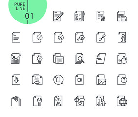 Set of icons for file and document editing and formatting . Modern outline web icons collection for web and app design and development. Premium quality vector illustration of thin line web symbols.