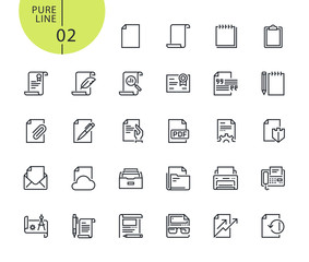 Set of icons for office workflow. Modern outline web icons collection for web and app design and development. Premium quality vector illustration of thin line web symbols.