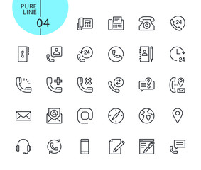 Set of icons for contact, support and location. Modern outline web icons collection for web and app design and development. Premium quality vector illustration of thin line web symbols.