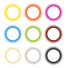 Set of 9 isolated vector abstract frame badges in different colors