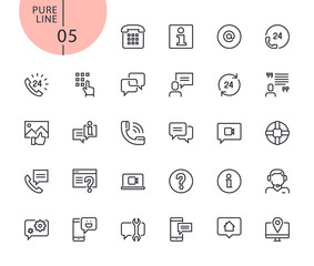 Set of icons for mobile service and communication. Modern outline web icons collection for web and app design and development. Premium quality vector illustration of thin line web symbols.