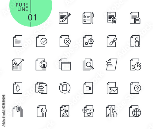 set of icons for file and document editing and formatting modern