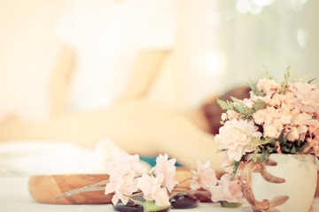Spa flower and objects with massage background