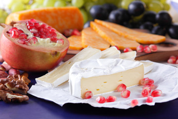 Camembert cheese, marbled cheese, different cheeses, dark blue grapes, red pomegranate, green grapes, peanuts and walnuts on a wooden board with an empty place for writing in retro style
