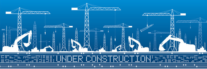 Fototapete - Under construction illustration. Development panorama, industrial landscape, building cranes, excavators, vector lines design art