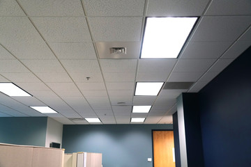 office interior and room ceiling with lamp