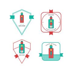 retro color badge theme electric cigarette mod - vaporizer vector