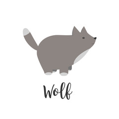 Vector baby animal and hand letters. Greeting card with cute wolf. Vector cartoon illustration of baby animals. Logo, badges, banners, emblem and design elements.