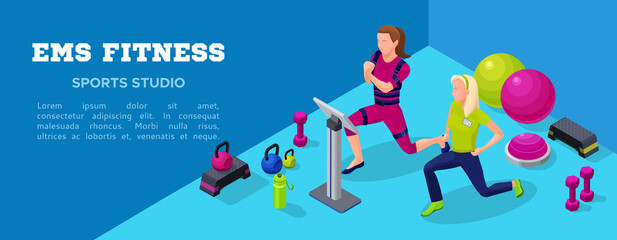 Sport club banner, ems fitness  studio with people doing electrical muscular workout, power exercises and sports equipment. Vector illustration