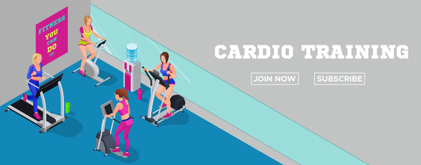 Sport club banner, isometric illustration fitness cardio workout with girls running elliptical machine, stepper, bicycle, modern training concept