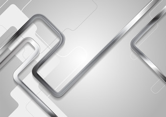 Grey tech abstract background with metallic stripes