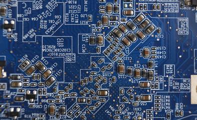 Computer motherboard close-up, repair concept