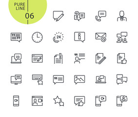 Set of icons for social media and networking. Modern outline web icons collection for web and app design and development. Premium quality vector illustration of thin line web symbols.