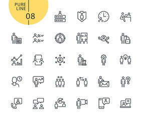 Set of icons for business management. Modern outline web icons collection for web and app design and development. Premium quality vector illustration of thin line web symbols.