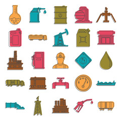 Oil and gas industry doodle icons set