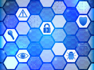 Cyber security icons on the hexagons background. Network protection internet technology concept illustration.
