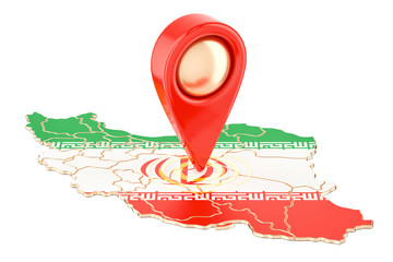 Map pointer on the map of Iran, 3D rendering