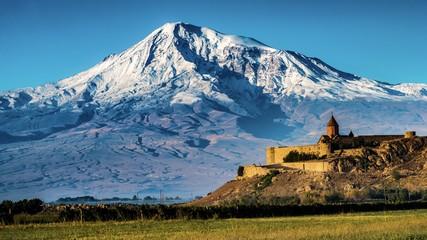 Foto auf Acrylglas Blau Jeans Ararat and Khor Virap, Armenia