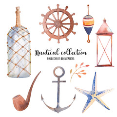Watercolor nautical set. Hand drawn cartoon elements: anchor, bottle, smoking pipe, float,sea star, lantern. Isolated design objects on white background. Sailing collection