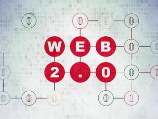 Web design concept: Web 2.0 on Digital Data Paper background