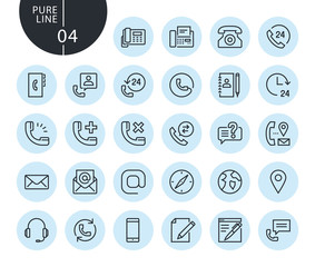 Collection of premium quality contact, support and location line icons. Outline concepts for web and app design and development. Modern vector illustration of thin line web symbols.