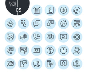 Collection of premium quality mobile service and communication line icons. Outline concepts for web and app design and development. Modern vector illustration of thin line web symbols.