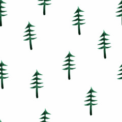 seamless pattern with watercolor fir-trees