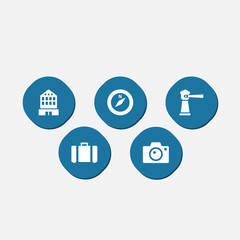 Set Of 5 Relax Icons Set.Collection Of Suitcase, Building, Seamark And Other Elements.