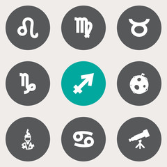 Set Of 9 Astronomy Icons Set.Collection Of Lunar, Crab, Lion And Other Elements.