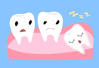 Wisdom tooth. Cartoon vector illustration of emotional funny teeth.