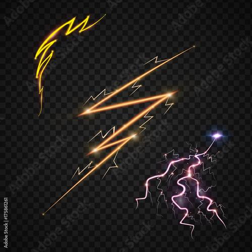 Lightning bolt storm strike realistic 3d light thunder-storm magic