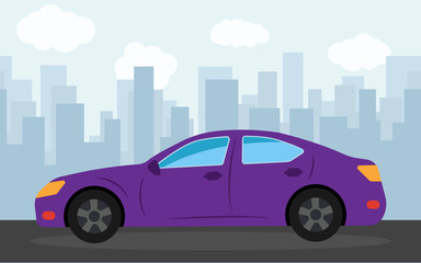 Purple sports car in the background of skyscrapers in the afternoon.  Vector illustration.