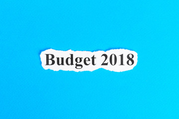 BUDGET 2018 text on paper. Word BUDGET 2018 on torn paper. Concept Image