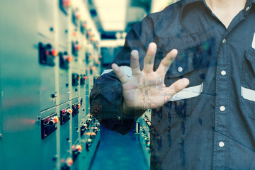 Double exposure of Engineer or Technician man using  hand control switch gear electrical room oil and gas platform or plant industrial with tools icon, business and electrical industry concept