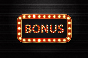 Vector realistic isolated retro neon billboard for bonus win with glowing lamps on the wall background. Concept of slot win, casino and award ceremony.