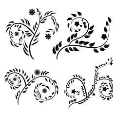 vector black and white vintage floral pattern set