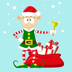 Cute and funny character Merry Christmas elf in santa claus hat. Happy New Year symbol.  Design element for congratulation card, banner, leaflet, poster. Cartoon style. Vector illustration.