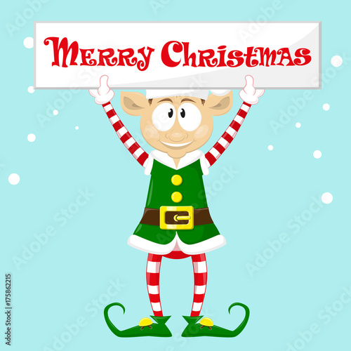 cute and funny character merry christmas elf in santa claus hat happy new year symbol - Merry Christmas Elf