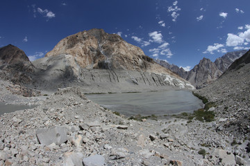Mountain lake near Passu in North Pakistan