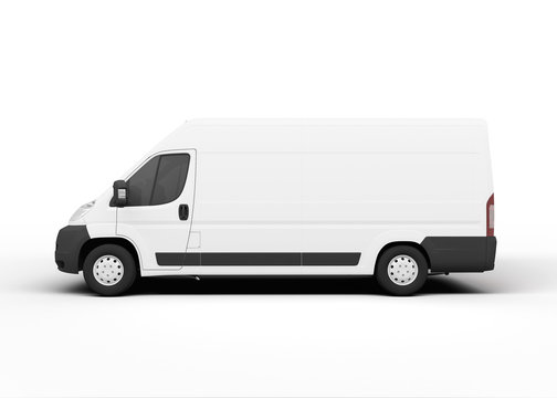 White delivery truck, rendering, on white background