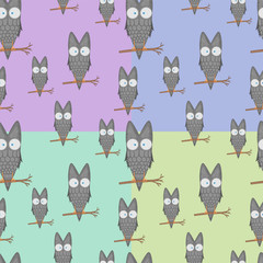 Seamless pattern of owls on a branch for kids stationery designs and clothing. cartoon bird. Obverse the paper. Background for notebook