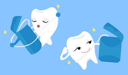 Girl tooth dancing with the dental floss. Tooth in love with dental floss. Funny cartoon  illustration.
