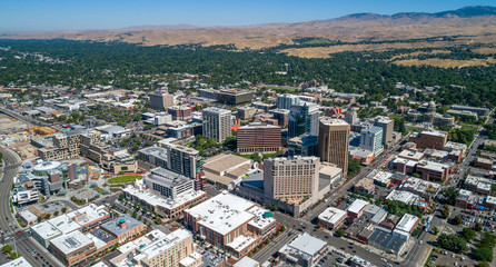 Aerial view of the city of trees Boise Idaho