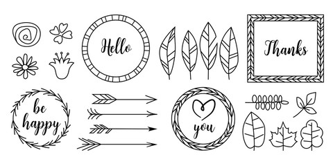 Retro vintage typographic design elements. Arrows, labels, ribbons, logo, symbols, calligraphy swirls, ornaments.