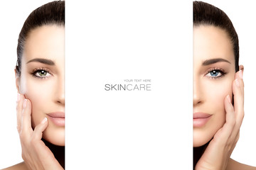 Skincare concept with female face split in half