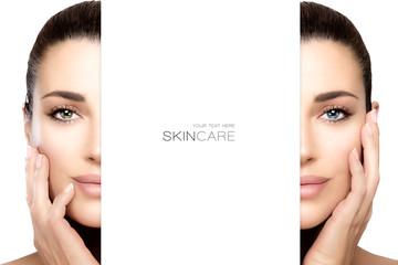 Skincare concept with female face split in half