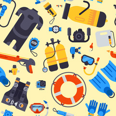 Spearfishing scuba diving underwater sea diver equipment vector professional tools seamless pattern background