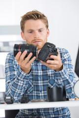 photographer assembling his camera