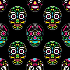Day of The Dead colorful sugar skull with floral ornament and flower seamless pattern. Dia de los muertos, the pattern is made in bright colors, colorful skulls for the holiday of the dead